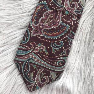 Liberty of London Burgundy Blue Paisley Silk Tie